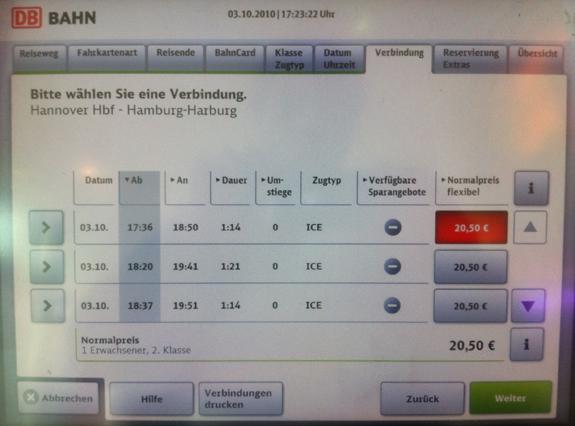Neues User Interface Deutsche Bahn Fahrkartenautomaten
