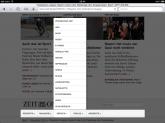 Drop Down Menü ZEIT ONLINE iPad im Footer